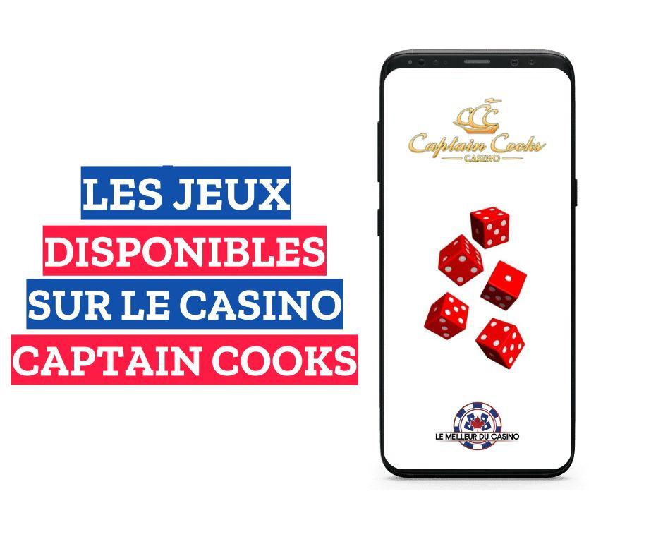 les jeux disponibles sur le casino en ligne Captain Cooks