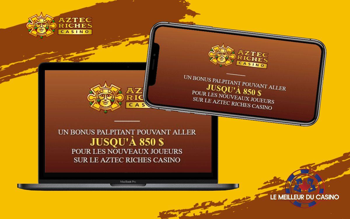 la page daccueil de Aztec Riches Casino sur un smartphone et un macbook pro test et avis realise par lemeilleurducasino