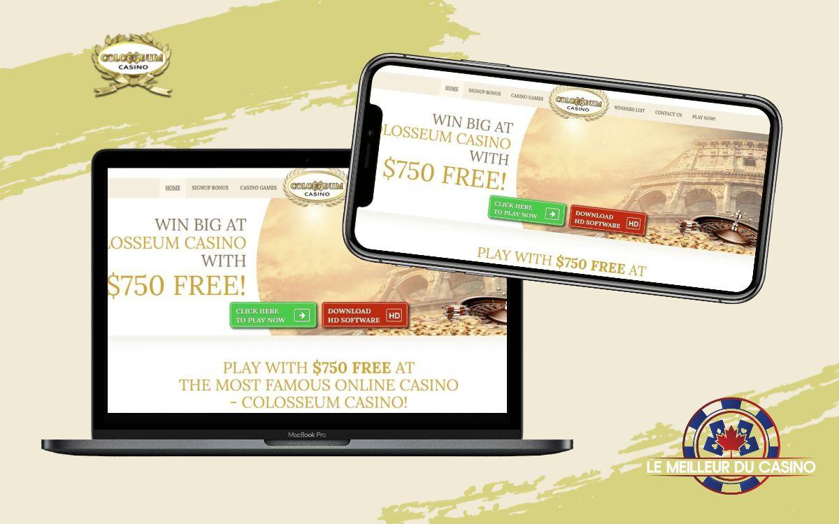 la page daccueil de Colosseum Casino sur un smartphone et un macbook pro test et avis de ce casino virtuel realise par lemeilleurducasino