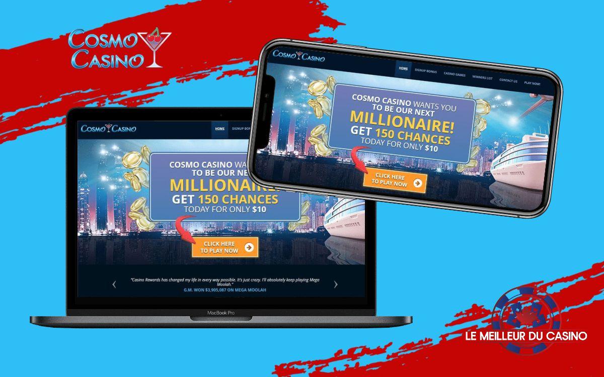 la page daccueil de Cosmo Casino sur un smartphone et un macbook pro test et avis realise par lemeilleurducasino