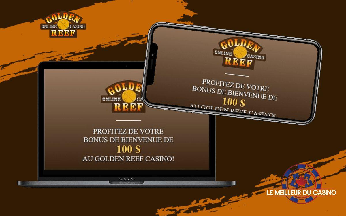 la page daccueil de Golden Reef Casino sur un smartphone et un macbook pro test et avis realise par lemeilleurducasino