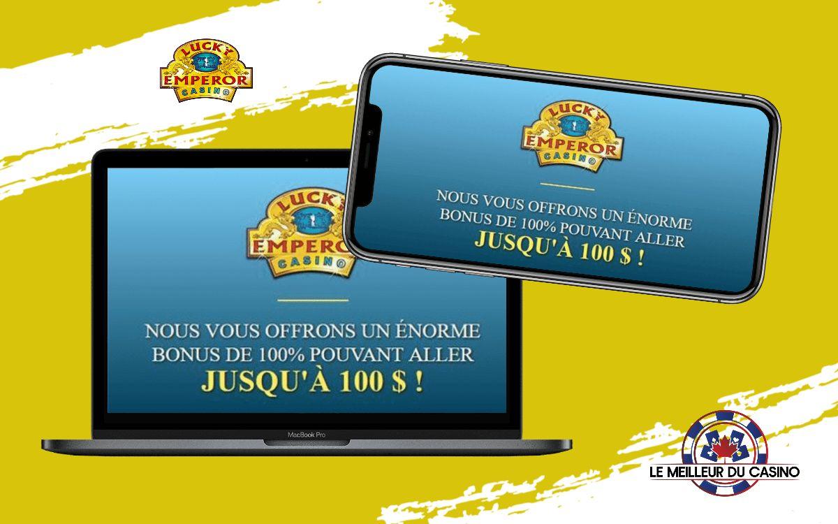 la page daccueil de Lucky Emperor Casino sur un smartphone et un macbook pro test et avis realise par lemeilleurducasino