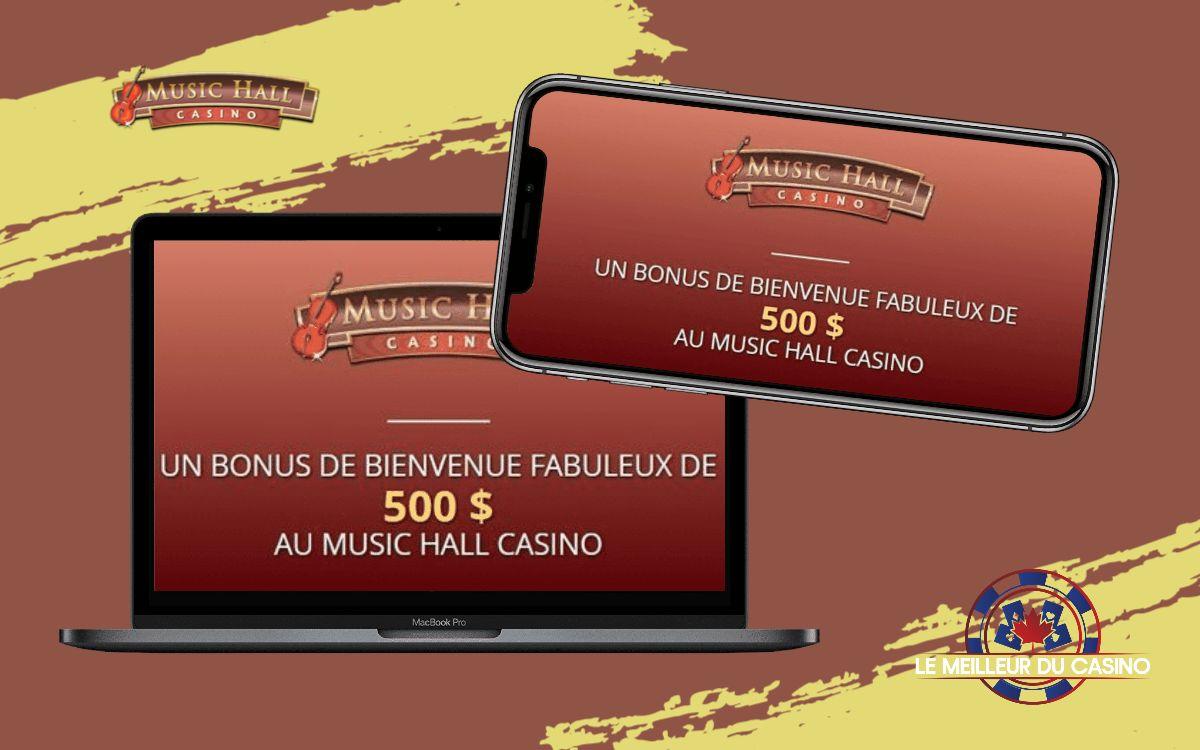 la page daccueil de Music Hall Casino sur un smartphone et un macbook pro test et avis realise par lemeilleurducasino
