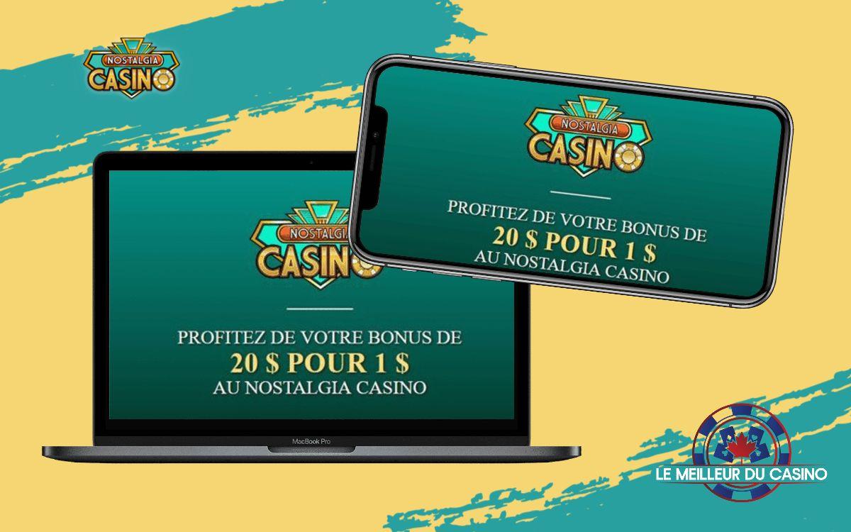 la page daccueil de Nostalgia Casino sur un smartphone et un macbook pro test et avis realise par lemeilleurducasino