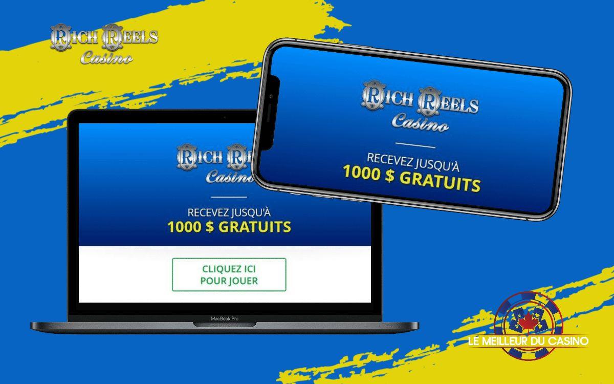 la page daccueil de Rich Reels Casino sur un smartphone et un macbook pro test et avis realise par lemeilleurducasino