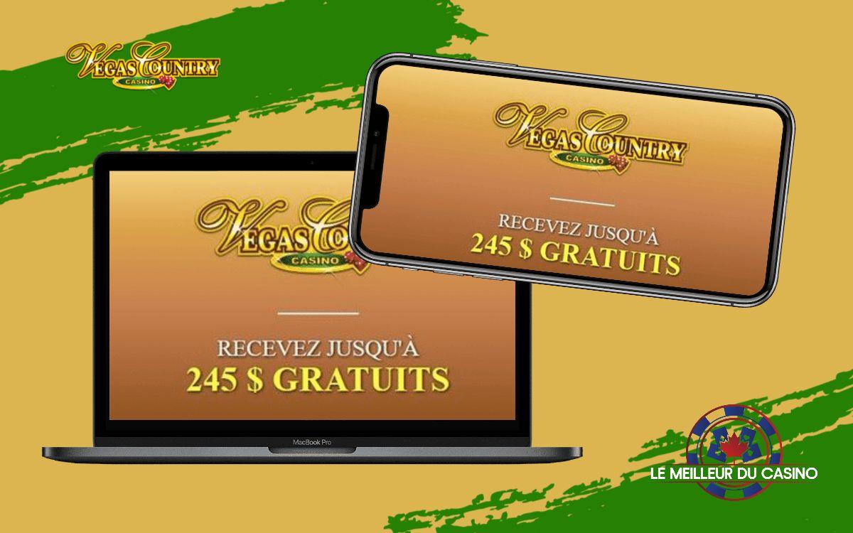 la page daccueil de Vegas Country Casino sur un smartphone et un macbook pro test et avis realise par lemeilleurducasino