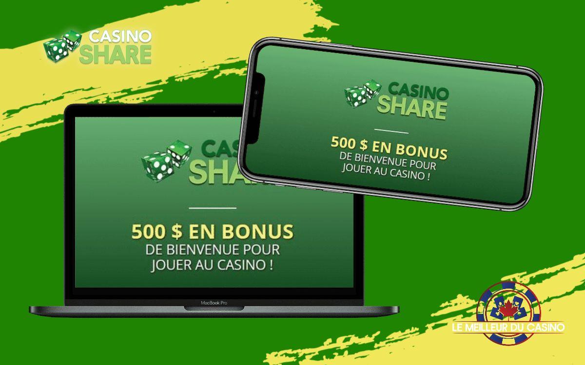 la page daccueil de casino Share sur un smartphone et un macbook pro test et avis realise par lemeilleurducasino2