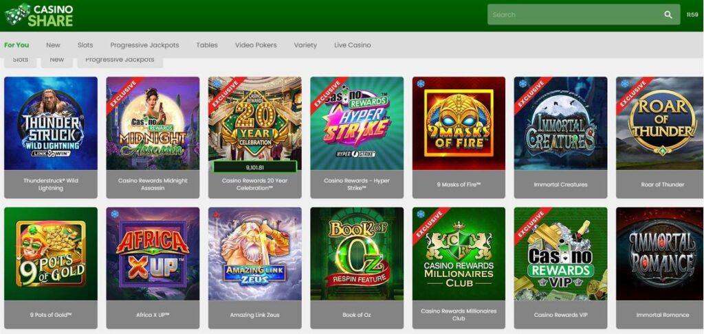 linterface de casino share sur la version web avec le navigateur firefox avec ses nombreux jeux de machines a sous progressives et classiques