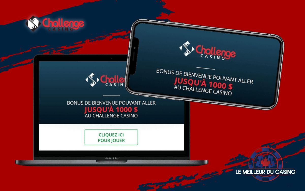 la page daccueil de Challenge Casino sur un smartphone et un macbook pro test et avis realise par lemeilleurducasino
