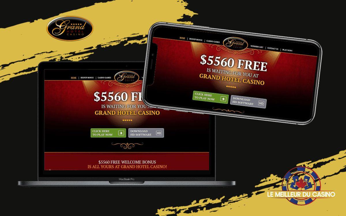 la page daccueil de Grand Hotel Casino sur un smartphone et un macbook pro sur un fond noir avec le logo du site test et avis realise par lemeilleurducasino