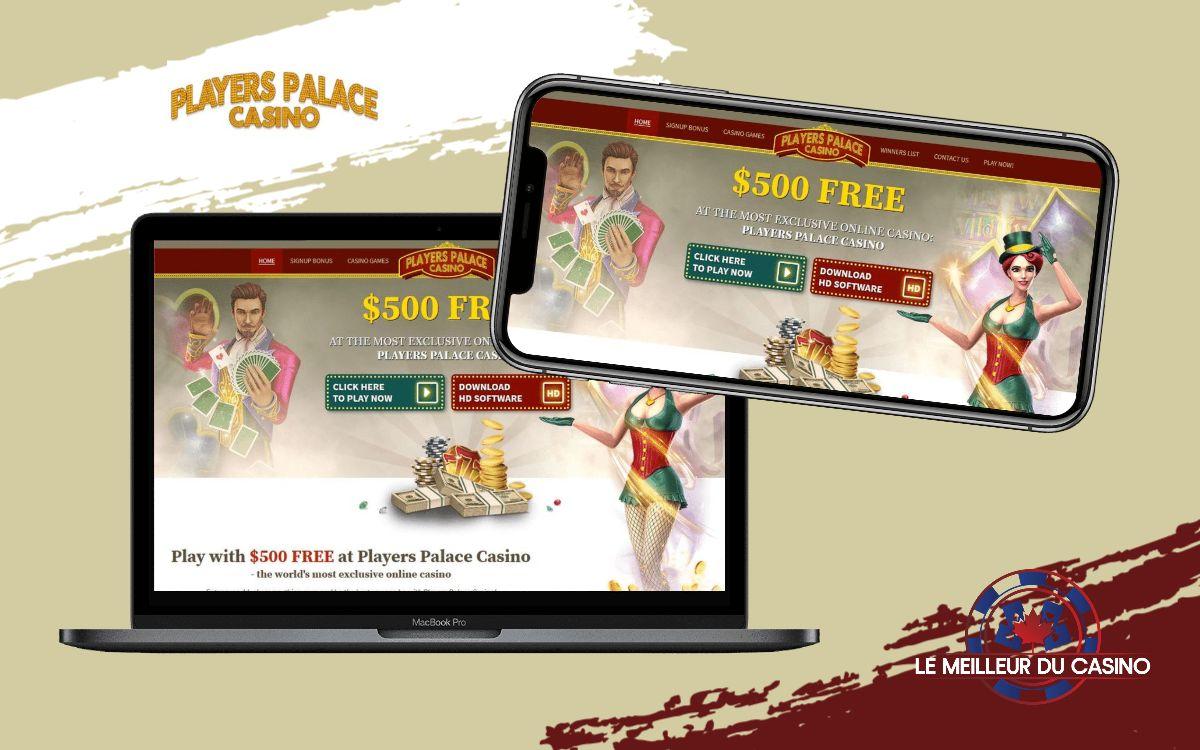 la page daccueil de Players Palace Casino sur un smartphone et un macbook pro test et avis de ce casino en ligne realise par lemeilleurducasino
