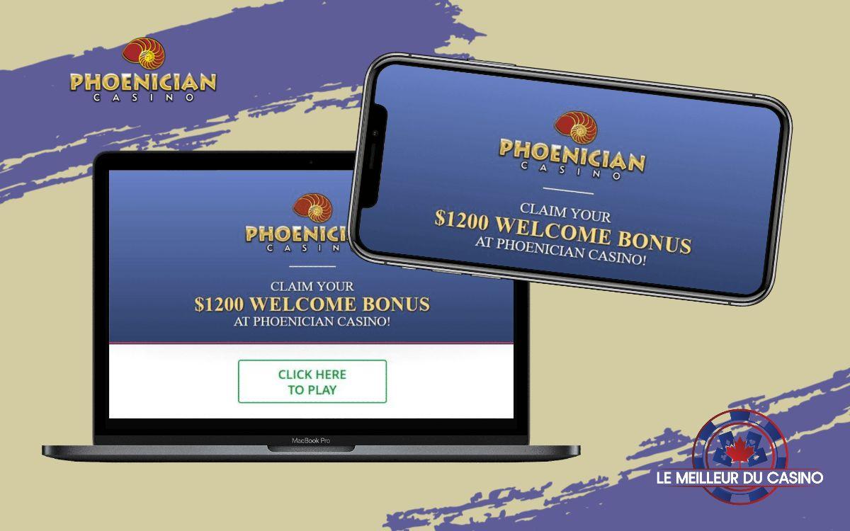 la page daccueil du Phoenician Casino en ligne sur un smartphone et un macbook pro test et avis realise par lemeilleurducasino